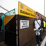 Robbie Crawford keeping his match boots close to him as he enteres Galabank
