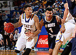 BROOKINGS, SD - NOVEMBER 3:  Andre Wallace #20 from South Dakota State drives against Carlos Tovias #1 from SD School of Mines in the first half of their exhibition game Thursday evening at Frost Arena in Brookings. (Photo by Dave Eggen/Inertia)