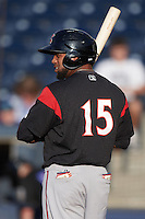 Richmond Flying Squirrels left fielder Darren Ford (15) at bat during a game against the Akron RubberDucks on July 26, 2016 at Canal Park in Akron, Ohio .  Richmond defeated Akron 10-4.  (Mike Janes/Four Seam Images)
