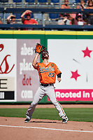 Baltimore Orioles left fielder Joey Rickard (23) tracks a fly ball during a Grapefruit League Spring Training game against the Philadelphia Phillies on February 28, 2019 at Spectrum Field in Clearwater, Florida.  Orioles tied the Phillies 5-5.  (Mike Janes/Four Seam Images)