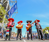 A band of mariachi play music outside St James' Park<br /> <br /> Photographer Alex Dodd/CameraSport<br /> <br /> Betfred Super League Round 15 - Magic Weekend - Saturday 19th May 2018 - St James' Park - Newcastle<br /> <br /> World Copyright &copy; 2018 CameraSport. All rights reserved. 43 Linden Ave. Countesthorpe. Leicester. England. LE8 5PG - Tel: +44 (0) 116 277 4147 - admin@camerasport.com - www.camerasport.com