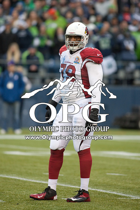 DEC 09, 2012:  Arizona's David Carter against the Seattle Seahawks.  Seattle defeated Arizona 58-0 at CenturyLink Field in Seattle, WA...