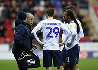 Preston North End manager Alex Neil discusses tactics during a break in play<br /> <br /> Photographer David Shipman/CameraSport<br /> <br /> The EFL Sky Bet Championship - Rotherham United v Preston North End - Tuesday 1st January 2019 - New York Stadium - Rotherham<br /> <br /> World Copyright © 2019 CameraSport. All rights reserved. 43 Linden Ave. Countesthorpe. Leicester. England. LE8 5PG - Tel: +44 (0) 116 277 4147 - admin@camerasport.com - www.camerasport.com