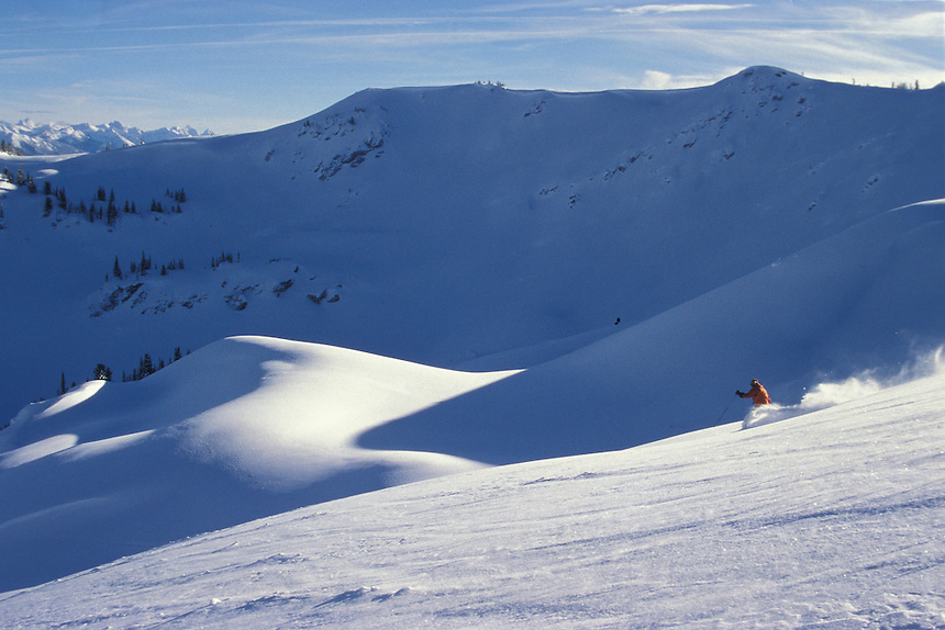 Selkirk Wilderness Skiing.  Oldest Snowcat operation in the world.  Skier: Alan Drury, Founder