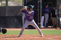 Colorado Rockies infielder Alan Trejo (22) at bat during an Extended Spring Training game against the San Diego Padres at Peoria Sports Complex on March 30, 2018 in Peoria, Arizona. (Zachary Lucy/Four Seam Images)