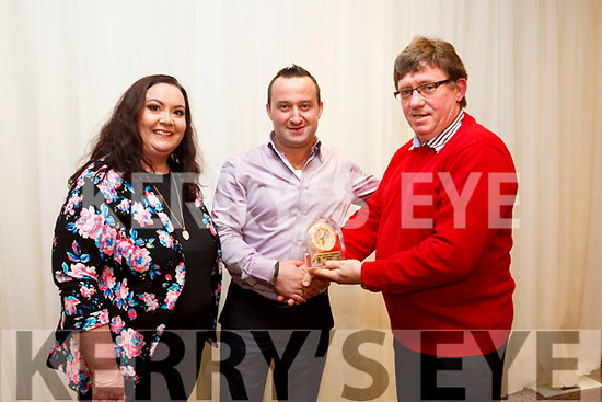Tidy Towns awards at the Rose Hotel on Monday. Winner in restaurant category were Brenda Mulvihill,  Gentian Panxhie, Christina's Cafe, presented by Brendan O'Brien