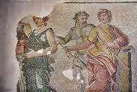 Roman mosaics - Close up of The Wedding of Dionysus mosaic. Dionysus Villa Ancient Zeugama, 2nd  century AD . Zeugma Mosaic Museum, Gaziantep, Turkey.<br /> <br /> <br /> The Wedding of Dionysus and Ariadne Mosaic, which belongs to the House of Dionysus, is one of the most special mosaics around the world. In the scene, Dionysus and Ariadne are sitting on a sofa. There are three maenads, musician, the wedding god and two sirens around them. <br /> <br /> The mosaic gives the impression of a painting due to the rich variety of colors and luminous/shadow effects used. The fact that there are many figures within the mosaic and their high pictorial quality, on the other hand, makes the mosaic much more special. <br /> <br /> The House of Dionysus is the villa where a rescue excavation was conducted in 1992 upon the received intelligence telling that traffickers had been digging the area. After the excavations, the mosaic now you behold was unearthed along with some geometric mosaics. In terms of the exactness in the anatomy of the figures, the perspective, and the rich variety of colors it is among the most precious and important mosaic around the world. <br /> <br /> <br /> The Museum had conducted activities in order to display the mosaic where it belongs and in a natural manner. However, such a big portion of the mosaic as two thirds was stolen by the historical artefact traffickers in 1998 from the place of display. The parts of the mosaic are not found yet. After the robbery, the remaining parts were transported to Gaziantep Museum and displayed after restoration. The stolen part of the mosaic was left blank. The searches continue in order to find the missing parts through the Interpol.