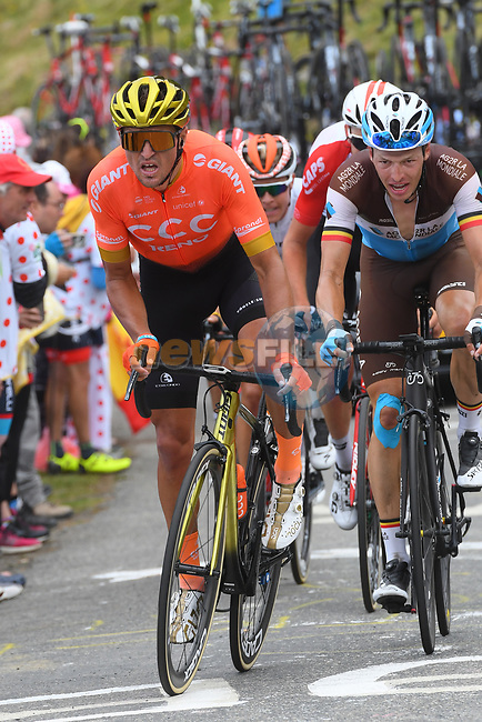Greg Van Avermaet (BEL) CCC Team and Oliver Naesen (BEL) AG2R La Mondiale climb Horquette d'Ancizan during Stage 12 of the 2019 Tour de France running 209.5km from Toulouse to Bagneres-de-Bigorre, France. 18th July 2019.<br /> Picture: KARLIS | Cyclefile<br /> All photos usage must carry mandatory copyright credit (© Cyclefile | KARLIS)