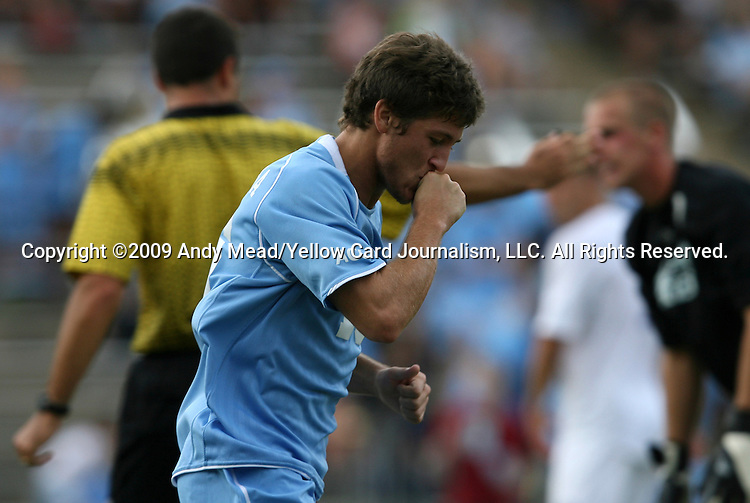 06 September 2009: UNC's Enzo Martinez reacts after scoring a goal. The University of North Carolina Tar Heels defeated the Evansville University Purple Aces 4-0 at Fetzer Field in Chapel Hill, North Carolina in an NCAA Division I Men's college soccer game.