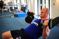 Matt Garvey of Bath Rugby in the gym. Bath Rugby pre-season training on June 21, 2016 at Farleigh House in Bath, England. Photo by: Patrick Khachfe / Onside Images