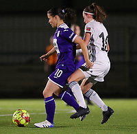 20190920 – LEUVEN, BELGIUM : RSC Anderlecht's Vatafu Stefania Iulia and OHL's Noa Corbeels are pictured during a women soccer game between Dames Oud Heverlee Leuven A and RSC Anderlecht Ladies on the fourth matchday of the Belgian Superleague season 2019-2020 , the Belgian women's football  top division , friday 20 th September 2019 at the Stadion Oud-Heverlee Korbeekdam in Oud Heverlee  , Belgium  .  PHOTO SPORTPIX.BE | SEVIL OKTEM