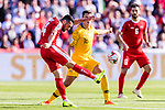 Abdallah Jaber of Palestine (L) fights for the ball with Chris Ikonomidis of Australia (R) during the AFC Asian Cup UAE 2019 Group B match between Palestine (PLE) and Australia (AUS) at Rashid Stadium on 11 January 2019 in Dubai, United Arab Emirates. Photo by Marcio Rodrigo Machado / Power Sport Images