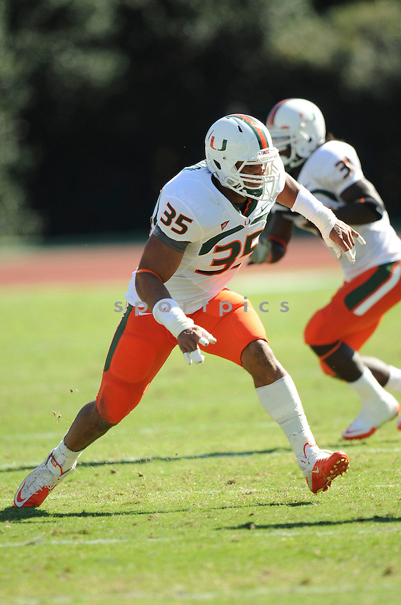 OLIVIER VERNON, of the Miami Hurricanes, in action during the Miami Hurricanes game against the Duke Blue Devils at Wallace Wade Stadium on October 16, 2010  in Durham, NC..Miami Hurricanes 28 Duke University 13.