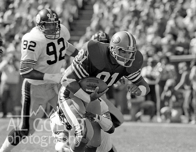 San Francisco 49ers vs. Pittsburgh Steelers at Candlestick Park Sunday, October 14, 1984..Steelers beat the 49ers 20-17.Pittsburgh Steelers Defensive End Keith Gary (92) on the heels of San Francisco 49ers Wide Receiver Russ Francis (81)..