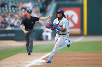 Buffalo Bison third baseman Vladimir Guerrero Jr. (47) fields a ground ball during the game against the Charlotte Knights at BB&T BallPark on August 14, 2018 in Charlotte, North Carolina. The Bison defeated the Knights 14-5.  (Brian Westerholt/Four Seam Images)