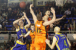 Montakit Fuenlabrada's Luka Rupnik (2l), David Wear (c) and Ivan Paunic (2r) and Herbalife Gran Canaria's Anzejs Pasecniks (l) and Albert Oliver during Eurocup, Top 16, Round 2 match. January 10, 2017. (ALTERPHOTOS/Acero)