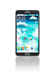 Samsung Galaxy Note III smartphone isolated photo on white background with clipping path