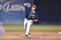 Asheville Tourists pitcher Gavin Glanz (31) delivers a pitch during a game against the Rome Braves on May 16, 2015 in Asheville, North Carolina. The Braves defeated the Tourists 6-3. (Tony Farlow/Four Seam Images)