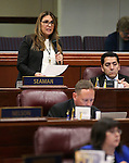Nevada Assemblywoman Victoria Seaman, R-Las Vegas, speaks on the Assembly floor at the Legislative Building in Carson City, Nev., on Wednesday, May 13, 2015.<br /> Photo by Cathleen Allison