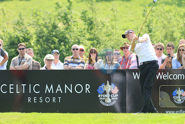 Rhys Davies teeing off on the 6th on day two of the Celtic Manor wales Open 2010.Picture Fran Caffrey/Newsfile.ie