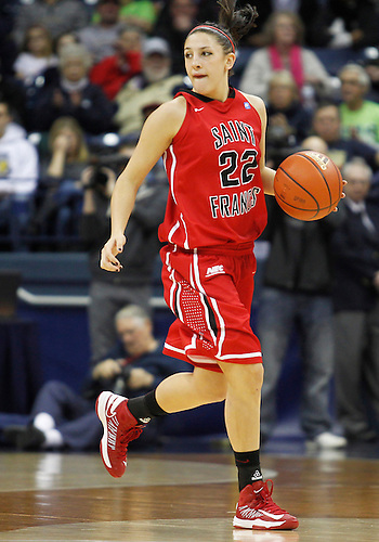 December 31, 2012:  St. Francis guard Alexa Hayward (22) dribbles the ball during NCAA Women's Basketball game action between the Notre Dame Fighting Irish and the St. Francis (PA) Red Flash at Purcell Pavilion at the Joyce Center in South Bend, Indiana.  Notre Dame defeated St. Francis 128-55.