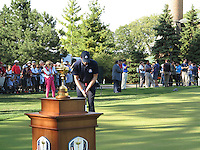 25 SEP 12  Keegan Bradley practices in the shadow of the Ryder Cup  at The 39th Ryder Cup at The Medinah Country Club in Medinah, Illinois.