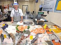 Chris Banks at the fishmonger counter