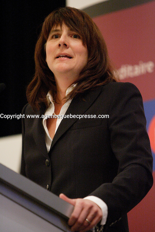Montreal (qc) CANADA - Feb 1 2010-Sophie Brochu, President and Chief Executive Officer of Gaz Metro, at the Canadian Club of Montreal's podium