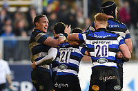 Nathan Charles of Bath Rugby celebrates his second half try with team-mates. Anglo-Welsh Cup match, between Bath Rugby and Newcastle Falcons on January 27, 2018 at the Recreation Ground in Bath, England. Photo by: Patrick Khachfe / Onside Images