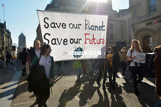 School pupils call for radical climate action in UK-wide strike in which more than 10,000 young people from around the country took part  - Oxford UK. 15 February 2019