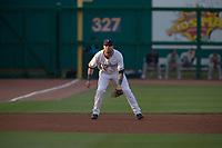 Northwest Arkansas Naturals infielder Emmanuel Rivera (26) readies for a pitch on May 6, 2019, at Arvest Ballpark in Springdale, Arkansas. (Jason Ivester/Four Seam Images)