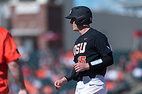 Oregon State Beavers catcher Adley Rutschman (35) during a game against the Gonzaga Bulldogs on February 16, 2019 at Surprise Stadium in Surprise, Arizona. Oregon State defeated Gonzaga 9-3. (Zachary Lucy/Four Seam Images via AP)
