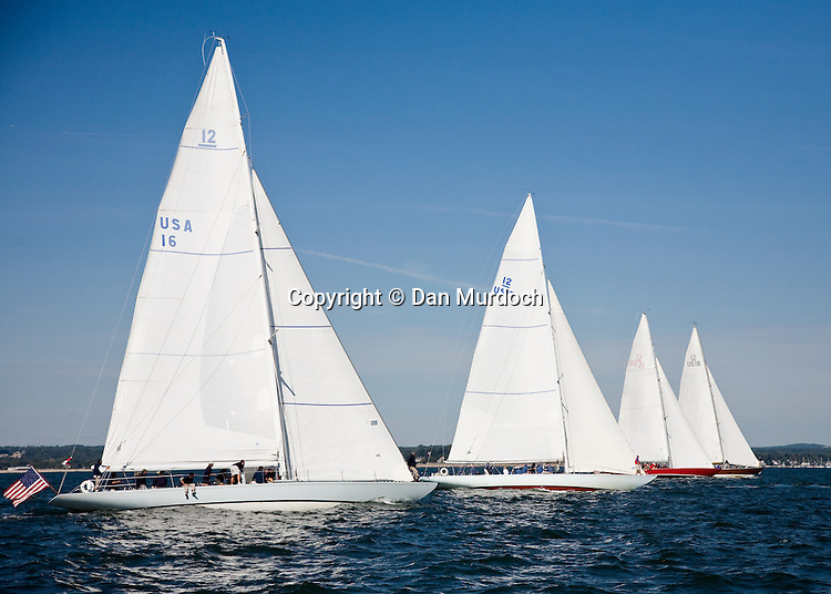 Vintage 12-meter sailboat(s) racing in Long Island Sound
