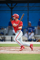 Philadelphia Phillies Austin Listi (24) follows through on a swing during an Instructional League game against the Toronto Blue Jays on October 7, 2017 at the Englebert Complex in Dunedin, Florida.  (Mike Janes/Four Seam Images)