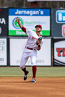 Wisconsin Timber Rattlers second baseman Nick Roscetti (3) throws to first base during a Midwest League game against the Clinton LumberKings on April 26, 2018 at Fox Cities Stadium in Appleton, Wisconsin. Clinton defeated Wisconsin 7-3. (Brad Krause/Four Seam Images)