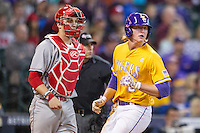 LSU Tigers outfielder Andrew Stevenson (6) scores during the Houston College Classic against the Nebraska Cornhuskers on March 8, 2015 at Minute Maid Park in Houston, Texas. LSU defeated Nebraska 4-2. (Andrew Woolley/Four Seam Images)