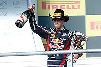 AUSTIN, TEXAS, ESTADOS UNIDOS, 18 NOVEMBRO 2012 - F1 - GP DOS EUA - O piloto alemao Sebastian Vettel comemora podio durante o Grande Premio dos Estados Unidos de Formula, na cidade de Austin no Texas, neste domingo, 18. (FOTO: PIXATHLON / BRAZIL PHOTO PRESS).