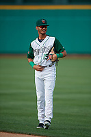 Fort Wayne TinCaps Tucupita Marcano (15) during warmups before a Midwest League game against the Peoria Chiefs on July 17, 2019 at Parkview Field in Fort Wayne, Indiana.  Fort Wayne defeated Peoria 6-2.  (Mike Janes/Four Seam Images)