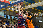 FC Barcelona Lassa's Ante Tomic and Montakit Fuenlabrada's Jose Gonzalez during the match of Endesa ACB League between Fuenlabrada Montakit and FC Barcelona Lassa at Fernando Martin Stadium in fuelnabrada,  Madrid, Spain. October 30, 2016. (ALTERPHOTOS/Rodrigo Jimenez)