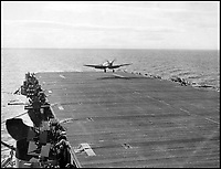 BNPS.co.uk (01202 558833)Pic: CharterhouseAuctioneers/BNPS<br /> <br /> A Supermarine Seafire lands onto HMS Fencer.<br /> <br /> A remarkable wartime photo album that highlights the perilous nature of landing a fighter plane on an aircraft carrier in heavy seas has been unearthed.<br /> <br /> The black and white snaps show several Royal Naval aircraft coming a cropper while attempting to land on board HMS Fencer often in heavy seas.<br /> <br /> One set of images depict a Swordfish biplane crashing into the sea a few hundred yards off the aircraft carrier HMS Fencer.<br /> <br /> Other photos show a Supermarine Seafire about the crash into the superstructure.<br /> <br /> The album will be sold by Charterhouse Auctioneers in Sherborne, Dorset.