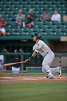Salt Lake Bees center fielder Michael Hermosillo (6) starts down the first base line during a Pacific Coast League game against the Fresno Grizzlies at Chukchansi Park on May 14, 2018 in Fresno, California. Fresno defeated Salt Lake 4-3. (Zachary Lucy/Four Seam Images)