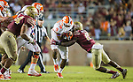 Florida State defensive back A.J. Westbrook tackles Clemson running back Wayne Gallman in the second half of an NCAA college football game in Tallahassee, Fla., Saturday, Oct. 29,2016. Clemson defeated Florida State 37-34. (AP Photo/Mark Wallheiser)