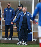 Ally McCoist contests if the ball has crossed the line for a corner and has a laugh
