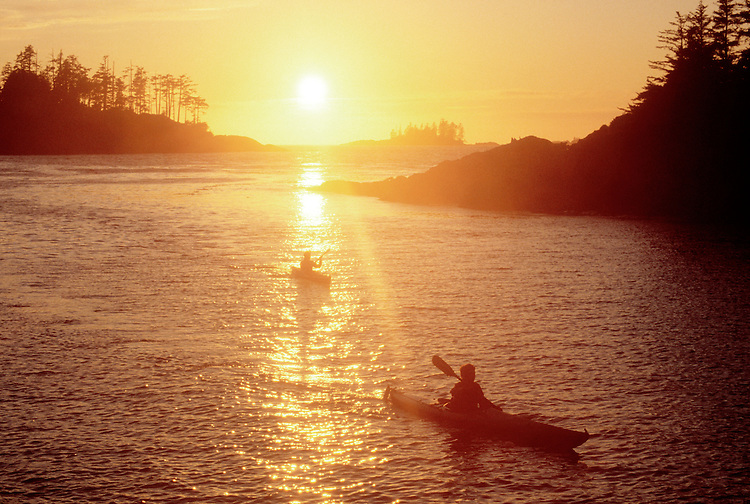 Sea kayakers, Vargas Island, Clayoquot Sound, West coast Vancouver Island, British Columbia, Canada