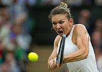 Simona Halep (2) of Romania in action during her defeat by Johanna Konta (6) of Great Britain in their Ladies' Singles Quarter Final Match today - Konta def Halep 6-7, 7-6, 6-4<br /> <br /> Photographer Ashley Western/CameraSport<br /> <br /> Wimbledon Lawn Tennis Championships - Day 8 - Tuesday 11th July 2017 -  All England Lawn Tennis and Croquet Club - Wimbledon - London - England<br /> <br /> World Copyright &not;&copy; 2017 CameraSport. All rights reserved. 43 Linden Ave. Countesthorpe. Leicester. England. LE8 5PG - Tel: +44 (0) 116 277 4147 - admin@camerasport.com - www.camerasport.com