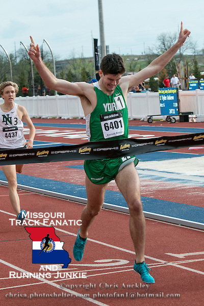 York High School senior Matt Plowman of Elmhurst, Il. wins the boys 1600-meters in 4:11.43 at the 2015 Kansas Relays in Lawrence, Ks. Friday, April 17th to earn a berth in the Adidas Grand Prix Dream Mile race in New York City in June.