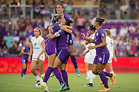 Orlando, FL - Saturday July 15, 2017: Orlando Pride Team celebrates a goal during a regular season National Women's Soccer League (NWSL) match between the Orlando Pride and FC Kansas City at Orlando City Stadium.
