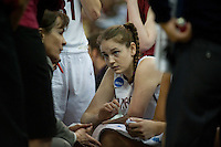 FRESNO, CA--Bonnie Samuelson listens to Head Coach Tara VanDerveer during a timeout en route to a 81-69 win over Duke at the Save Mart Center for the West Regionals Championship of the 2012 NCAA Championships. The Cardinal advances to the Final Four in Denver, facing Baylor in the semifinals.
