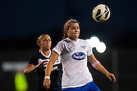 Boston Breakers forward Katie Schoepfer (12) is marked by Sky Blue FC defender Kendall Johnson (5). Sky Blue FC and the Boston Breakers played to a 0-0 tie during a National Women's Soccer League (NWSL) match at Yurcak Field in Piscataway, NJ, on July 13, 2013.