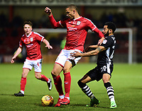 Crewe Alexandra's Jordan Bowery shields the ball from Lincoln City's Nathan Arnold<br /> <br /> Photographer Andrew Vaughan/CameraSport<br /> <br /> The EFL Sky Bet League Two - Crewe Alexandra v Lincoln City - Saturday 11th November 2017 - Alexandra Stadium - Crewe<br /> <br /> World Copyright &copy; 2017 CameraSport. All rights reserved. 43 Linden Ave. Countesthorpe. Leicester. England. LE8 5PG - Tel: +44 (0) 116 277 4147 - admin@camerasport.com - www.camerasport.com